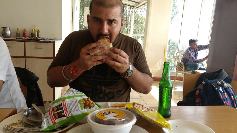 Our Brunch atop Nandi Hills, Kaul Saab polishing it off in style