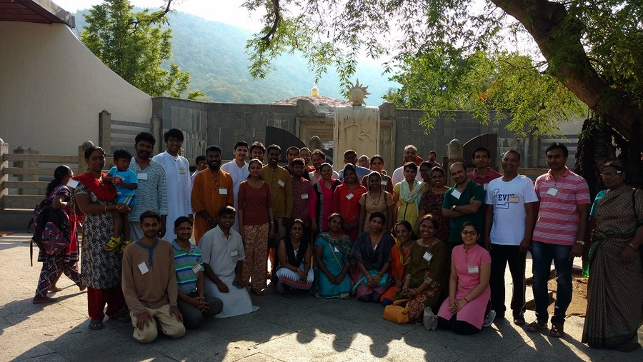 Group photo at DhyanaLinga Entrace_Isha Yoga Center