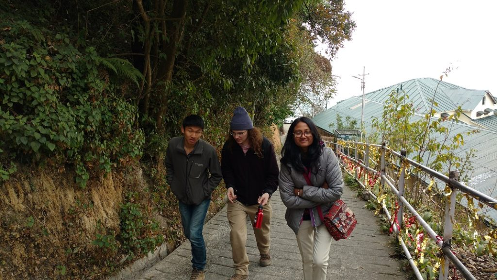 Taking a stroll in the street of Mussoorie