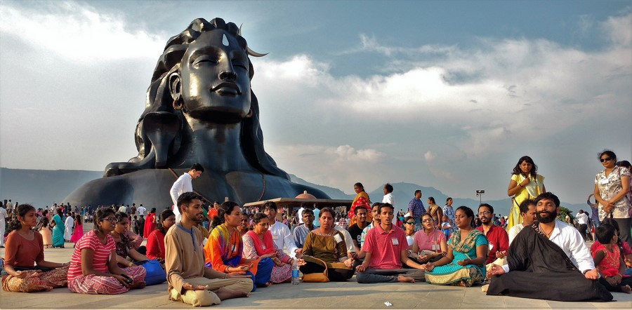 Meditation in front of the AdiYogi Statue@Isha Yoga Center precinct