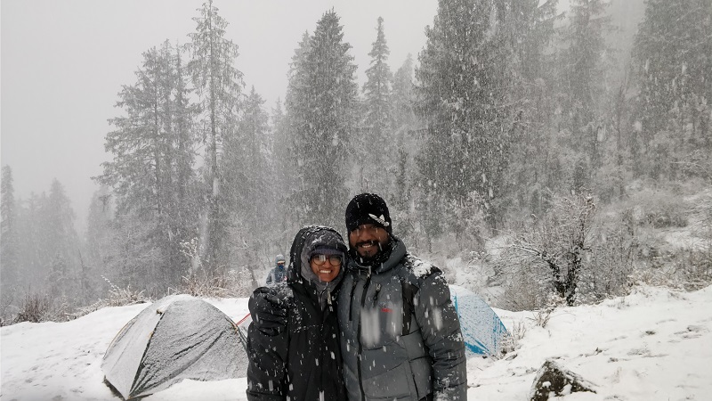 Snow fall at Gulling Top Campsite